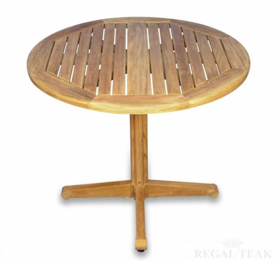 Picture of Teak Dining Table Round Pedestal 36in Dia